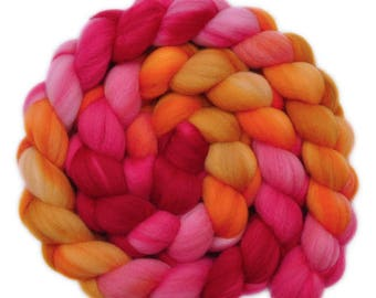 Hand painted wool roving - Superwash Merino Wool / Nylon  85/15% spinning fiber - 4.0 ounces - Coral Branches 1