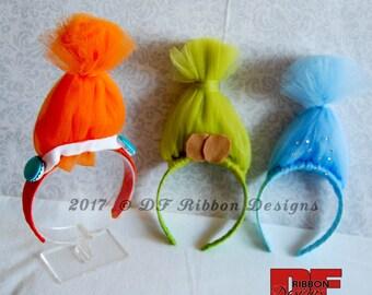 Troll Hair Headbands - Troll Inspired Headbands - Troll Tulle Hair Headbands - Poppy Inspired Headband - DJ Suki Inspired Headband