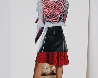 Original Magazine Collage Fashion Illustration // fashion art, collage art, red and black , spliced art, apartment art, art gifts, decor