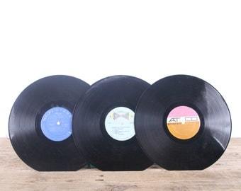 3 Vintage 33 1/3 Records / Colorful Vinyl Records / Antique Vinyl Records Decorations / Old Records Atco Hi-Fi / Retro Music Party Decor