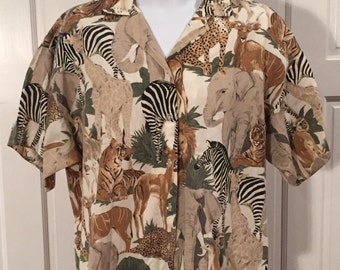 Awesome 80s Safari Animal Short Sleeve Shirt - Lady Caribou
