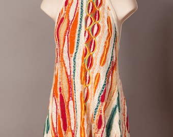 Vintage 70s 80s Colorful COOGI Austrailia Classic Womens Halter Dress