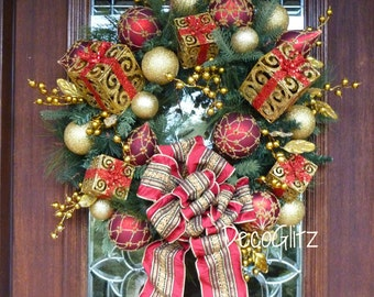Elegant CHRISTMAS Wreath with GOLD PRESENTS, Ornate Burgundy and Gold Ornaments and Burgundy and Gold Bow