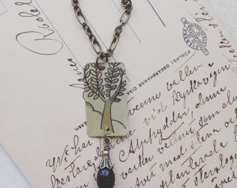 """Vintage Relcaimed Tin Jewelry Necklace """"Tree of Life"""" Tin for the Ten Year Tenth Wedding Anniversary"""