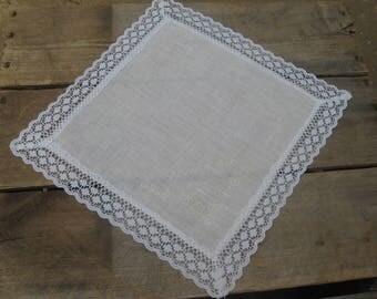 White Grandmother Hankie, Mother's Day Gift Hankie, Ladies Handkerchief, White Lace Hankie