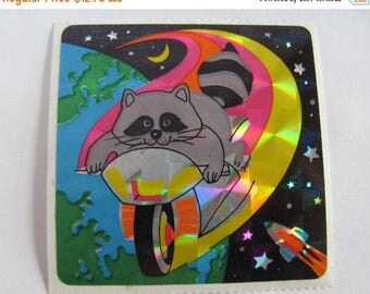 SALE Very Rare Vintage Sandylion Raccoon on a Bicycle Prism Sticker - 80's Prismatic Earth Moon Sky Rocket Motorcycle Masked Bandit