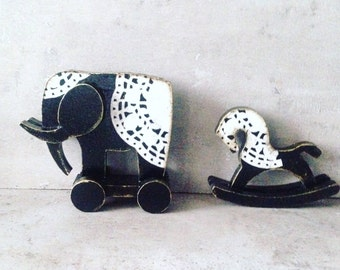 Home decor, set of toys, black and white toys, lace, elephant, rocking horse