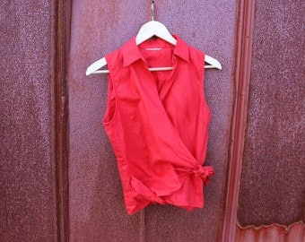 Red Linen Wrap Collared Blouse Small Medium