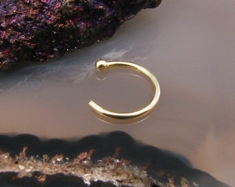 """14K Solid Gold Nose Jewerly, Open Nose Hoop, Half Hoop, Nose Ring Choose Your Size 1/4"""" 9/32"""" 5/16"""" 3/8"""" Choose Your Gauge 22G 20G 18G"""