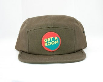 Get a Room! Hat / 5 Panel Cap / Five Panel Hat / Embroidered / Patch / Forest Green