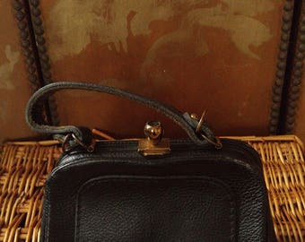 60s small black leather medicine case style hand bag by Letisse bags