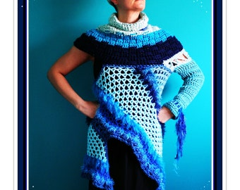 Crochet Sweater,Knit Sweater,Jumper,Handmade Pullover,Turtleneck,Freeform Crochet,Gypsy Clothing,Hippie Clothes,Womens Clothing,Unique,Blue,