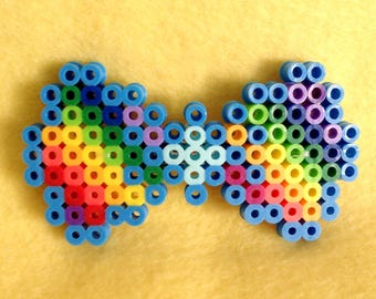 8-Bit Rainbow Hair Bow ~ Perler Bead Sprite