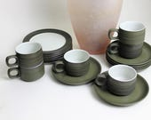 Set of Six Denby Dark Green Chevron Coffee Cups, Saucers and Side Plates