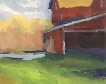 The Farmstead  Original Colorful Landscape Oil Painting