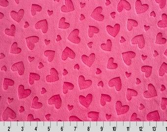 Fuchsia Embossed Hearts Minky From Shannon Fabrics
