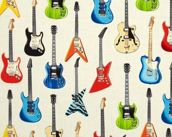 Electric Guitars on Ivory from Robert Kaufman's In Tune Collection