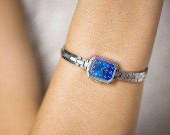 Woman wristwatch bracelet, silver blue shades lady watch Ray, rectangular women's watch, 70's jewelry watch women, cocktail watch her gift