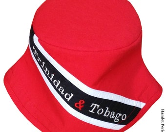 Trinidad and Tobago Flag Bucket Hat | Embroidered Hat | Country Flag | Trinidad & Tobago Flag | Red Black Hat by Hamlet Pericles | HP1317