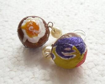 Cream Egg Earrings. Polymer Clay.