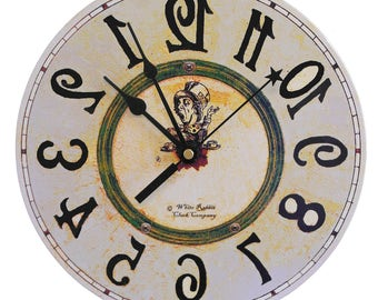 Backwards clock  Alice in Wonderland decor
