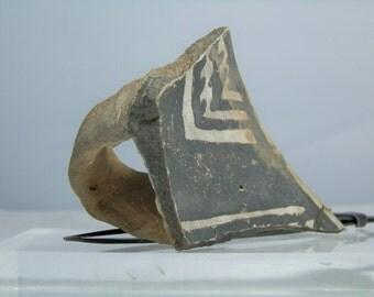 "Anasazi Pottery Shard With Handle Artifact From Arizona 3.90"" x 2.60"" x 1.33""  Monochrome Color Antique Native American Artifact"