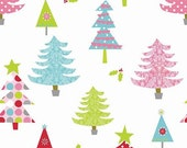 ON SALE Riley Blake Christmas Fabric by the yard Christmas Tree fabric in White 1 yard