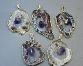 10% off Memorial Day Agate Druzy with Amethyst Dangling Point Pendant and Electroplated 24k Gold Edges GHP  (S37B1-02)