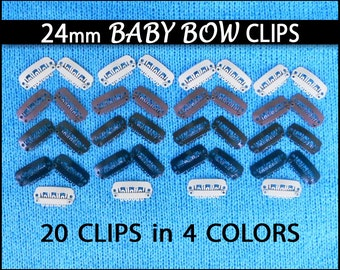 20 Baby Bow Clips - size 24mm in 4 Colors - Tiny 23mm for Infant Hair Clip Bows, Rhinestones, Feathers, etc.