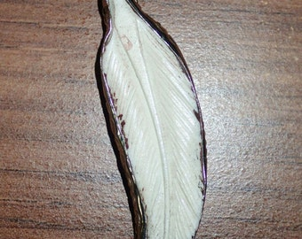 Carved Bone Feather Pendant in tibetan silver