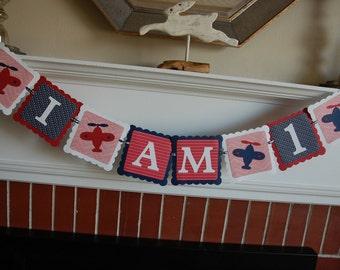 Airplane I am 1 Banner, Time Flies Airplane Birthday, Highchair Banner, I am 1, Airplane Theme, Take Flight, Red White Navy