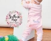 PINK SPRING Pajamas - Monogrammed Easter Pajamas - Spring PJ's - Classic Monogram -Pajama Monogram -Boy's Pajamas -Girl's pajamas -Baby Gift