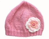 Girls Retro HANDMADE Pink Knitted Wool Beanie Hat with Flower & Buttons . Gift Idea . Size - Age: 3 4 5 6 7 8 . OOAK . Made in Australia