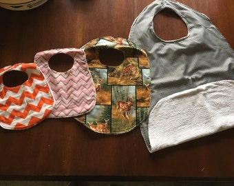 Bibs, baby to adults, Clothing protectors for adults and special needs, terry cloth back.