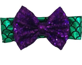 Mermaid Headband,Girls Mermaid Headband, Mermaid Theme,Green and Purple,Mermaid,Baby Mermaid, Baby Headband