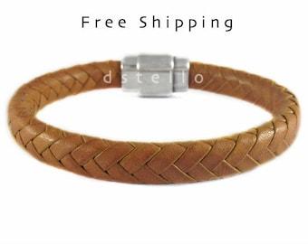 Custom men's leather bracelet - Men's bracelet - Braided bracelet - Gift for men - First quality Spanish leather and strong magnetic clasp