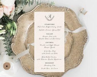 Printable Wedding Menu, Rehearsal Dinner Menu, Printable Menu, Calligraphy Menu, Wedding Menu, Kraft, Brunch Menu, Printable Menu, Template