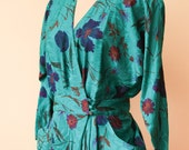 Green Floral Print Sheath Dress | Maggy London Sheath Dress | Silk Wrap Dress | 1980s Silk Dress | Cocktail Dress