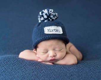 Baby Announcement, Boys hat, Knit, Baby Boy, Baby girl, Girls hat, Newborn, Baby Shower gift, baby, Preemie, Personalied, Monogram, keepsake