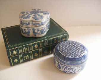 Blue and White Porcelain Trinket Boxes, Vintage Chinoiserie, Asian Style, Set of Two, Instant Collection