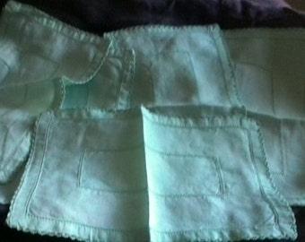 Set of six small vintage linen napkins, mint green