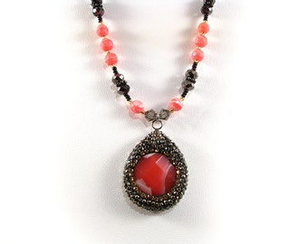 "Pink Rhodochrosite and hematite crystal necklace 18"""