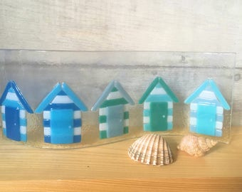 Fused Glass Candle Holder, Fused Glass Beach Huts, Fused Glass Art, Beach Hut Candle Holder, Beach Hut Decor, Beach Hut Art, Beach Theme