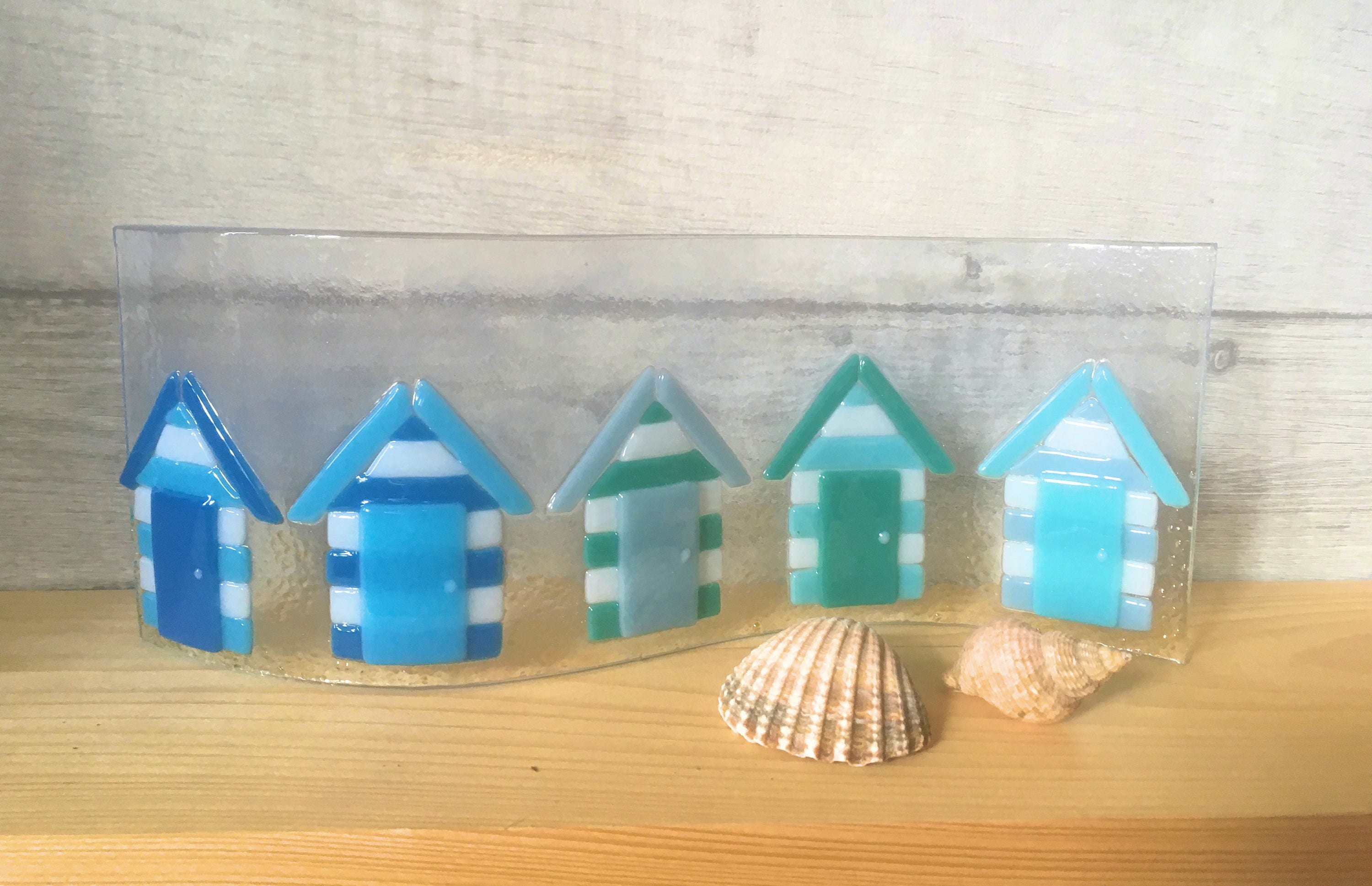 Row of beach huts curved fused glass table clock -  Zoom