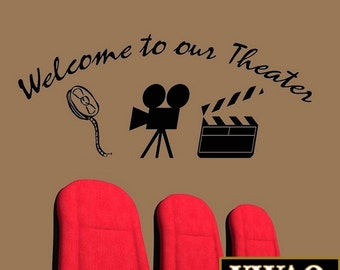 Home Movie Theater Decor Wall Decal Welcome to Our Theater Wall Art VWAQ-31