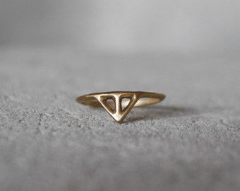 Small TAIKA Ring bronze or silver - hand carved unique design minimalist skinny thin ring in recycled silver / golden bronze
