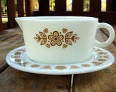 Pyrex Butterfly Gold Gravy Boat with Under Plate