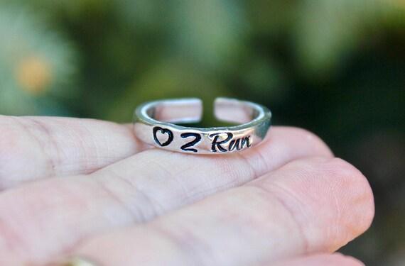 Run Ring, Ring for Runners, Gift for Runner, Heart 2 Run, Heart to Run Ring, Marathon jewelry, Jewelry for Runners, Ring for Running, Run