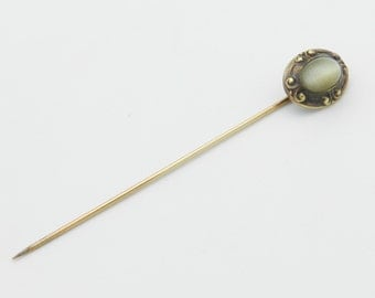 Antique Victorian 14K Yellow Gold Cats Cat Eye Stick Pin
