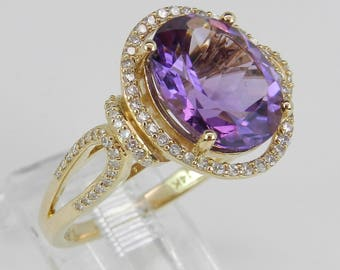 5.65 ct Diamond and Amethyst Halo Engagement Ring 14K Yellow Gold Size 7 February Gem